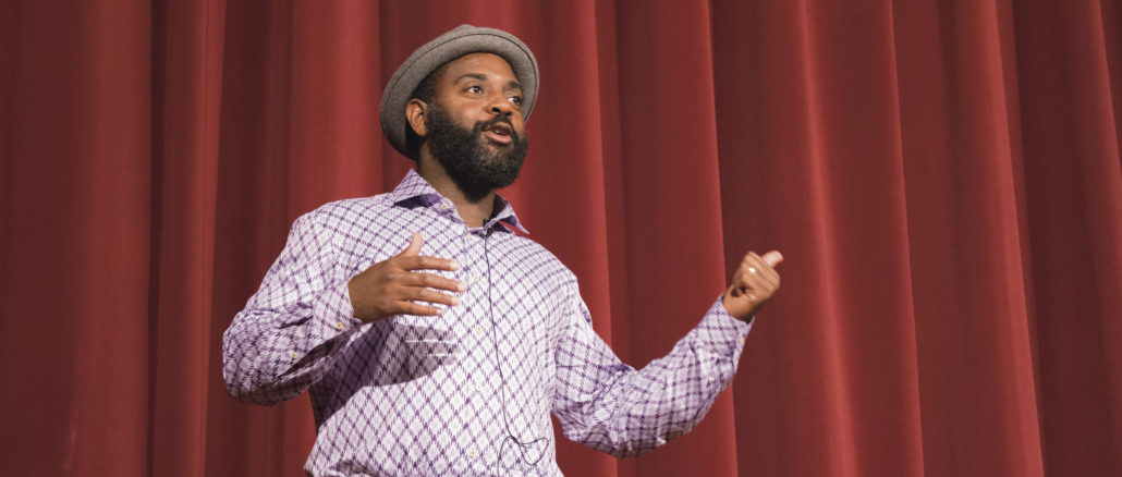 (Reginald Dwayne Betts recited excerpts from his memoir and recounted stories of his incarceration Thursday evening in DPAC. Erin Fitzmaurice)